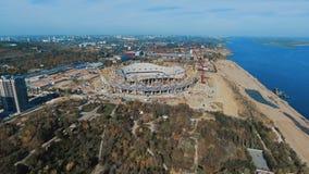 Arial strzelał stadion futbolowy w budowie i panorama Volgograd zdjęcie wideo