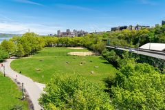 Arial view across Riverbank State Park in New York City, with Upper Manhattan and the George Washington Bridge in the royalty free stock photo