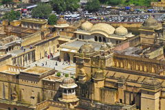 Arial View Of Amber Fort. Arial view of beautiful amber fort from Jaigarh fort hill top.Jaipur,Rajasthan Stock Photography