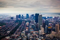 Arial view of the Boston skyline with skyscrapers. Against a cloudy sky Stock Photo