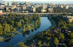 Arial view of city. Arial view of Ottawa city, canal and urban area Royalty Free Stock Photo
