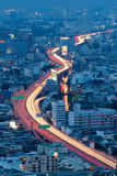 Arial view city expressway long exposure during Royalty Free Stock Image