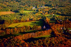 Arial view of Fall in New England. Arial view of the colorful Fall countryside in New England.  Nature in full splendor Royalty Free Stock Photos