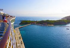 The arial view from desck of abstract cruise ship at Labadee -Caribbean Island of Haiti Stock Photography