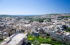 Arial view of green Gozo island, Victoria Rabat town, Malta stock photos