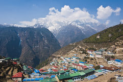 Arial View of Himalayan Town Royalty Free Stock Photo