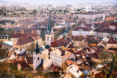 Arial view on Ljubljana city Royalty Free Stock Photography