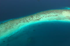 Arial View of a long reef. Stock Photo