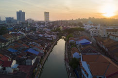 Arial view of Malacca city during sunrise, slightly noise and so Royalty Free Stock Images
