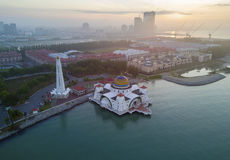 Arial view of Malacca Straits Mosque during sunset. Stock Photography