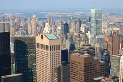 Arial view of Manhattan skyline stock images