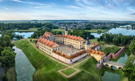 Arial view of Nesvizh Castle Stock Photography