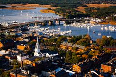 Arial view of a New England town in the Fall Stock Image
