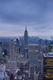The arial view of New York at night Royalty Free Stock Photo