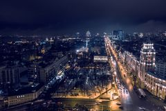 Arial view of night city Voronezh, evening cityscape with roads, parks and traffic, drone shot stock photography