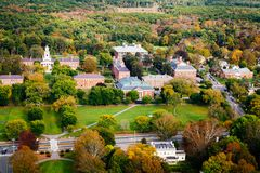 Arial view of a Phillips Academy in the Fall. Arial view of a Phillips Academy in Andover Massachusetts in the Fall Stock Image