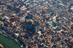 Arial View of the Bavarian City of Regensburg, Germany royalty free stock images