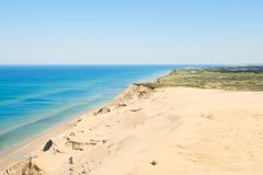 Arial view of rugged coastline royalty free stock photo