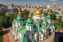 Sophia Cathedral arial. Arial view at Saint Sophia`s Cathedral Kiev, Ukraine Royalty Free Stock Photography