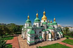 Sophia Cathedral arial. Arial view at Saint Sophia`s Cathedral Kiev, Ukraine Royalty Free Stock Photo