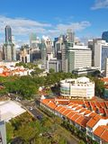 Arial View of Singapore landscape. High rise financial district against prewar shop houses in Singapore's Chinatown Stock Image