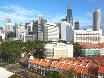 Arial View of Singapore landscape. High rise financial district against prewar shop houses in Singapore Royalty Free Stock Image