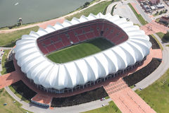 Arial View of Soccer Stadium and Lake Stock Photos