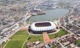 Arial View of Soccer Stadium and Lake Stock Image