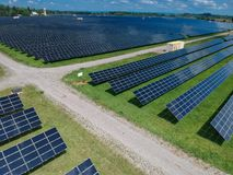 Arial view of a solar panel farm Royalty Free Stock Images