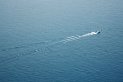 Arial view of a speedboat on water Stock Photography