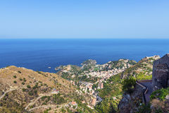 Arial view of Taormina, Sicily Royalty Free Stock Photos