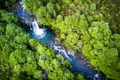 Arial view of the Tawhai Falls in Tongariro national park, New Zealand royalty free stock photo