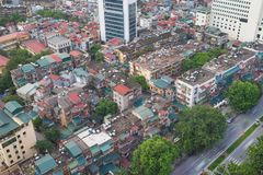 Arial view of Thanh Cong collective zone. Messy old buildings in Hanoi, Vietnam.  Royalty Free Stock Photography