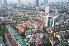 Arial view of Thanh Cong collective zone. Messy old buildings in Hanoi, Vietnam.  Stock Photography