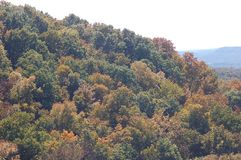 Tree Covered Mountain in Franklin, Tennessee. An arial view of a tree covered mountain stock image