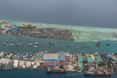 Arial view of the tropical industrial island in the indian ocean Stock Image