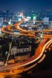 Arial widok Bangkok miasto z głównym ruchem drogowym i ekspresowy sposób przy Obraz Stock