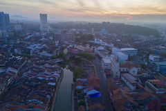 Arial widok Malacca miasto podczas wschodu słońca Obrazy Royalty Free