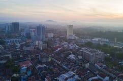Arial widok Malacca miasto podczas wschodu słońca Obraz Stock