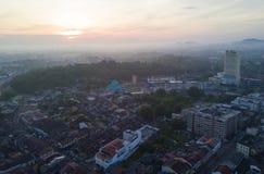 Arial widok Malacca miasto podczas wschodu słońca Zdjęcie Royalty Free