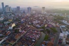 Arial widok Malacca miasto podczas wschodu słońca Obraz Royalty Free