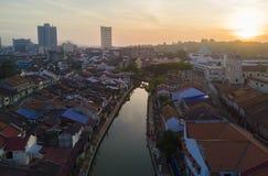 Arial widok Malacca miasto podczas wschodu słońca hałas, nieznacznie i w ten sposób Obrazy Royalty Free