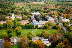 Arialmening van Phillips Academy in de herfst stock afbeelding