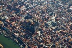 Arialweergeven van de Beierse Stad van Regensburg, Duitsland royalty-vrije stock afbeeldingen