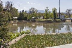 Ariana Lake p? den Borisova gradinaen Boris Garden i stad av Sofia, Bulgarien arkivfoton