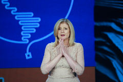 Arianna Huffington bij Microsoft-Convergentie stock fotografie