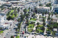 Arica city, Chile. Arica city street view with palms and cars traffic, Chile Stock Photo