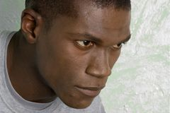 Arican portrait. African American male portrait looking away from camera Royalty Free Stock Image