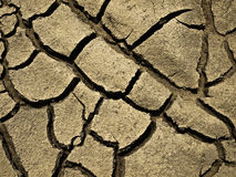 Arid. Detail and texture of dry and arid riverbed Royalty Free Stock Photography