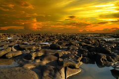 Arid. Abstract landscape rock in the evening Royalty Free Stock Photos